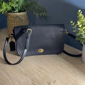 Vintage Black Leather Coach Penny Pocket Crossbody